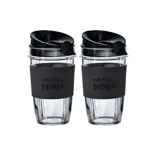 2 x Medium 500ml Nutri Ninja Cups with Two Sip /& Seal Lids