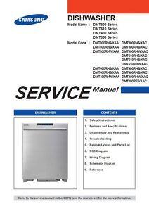 samsung dmt800rhw dmt800rhs dmt800rhb dishwasher service manual ebay rh ebay com Samsung Dishwasher Service Manual samsung dishwasher dw80j3020us repair manual