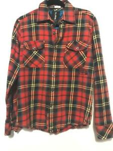 BILLABONG-Mens-Red-Blue-Plaid-Flannel-S-Small-Embroidered-Spellout-Pocket-Shirt