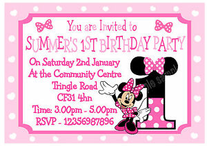 Image Is Loading 10 X Personalised Minnie Mouse Age Birthday Party