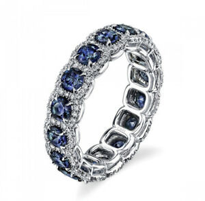Women-039-s-Classical-Vintage-Antique-Style-Blue-Sapphire-Surround-Wedding-Ring-R104