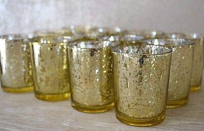 Champagne Mercurio Vetro Tè Leggero Candela Votiva Titolare Set Matrimonio Caratteristica Principale- Asciugare Senza Stirare