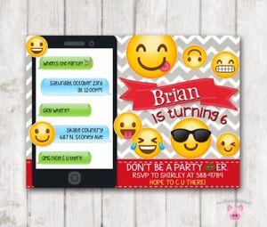 Image Is Loading Emoji Invitations Birthday Party Invitation Digital Red