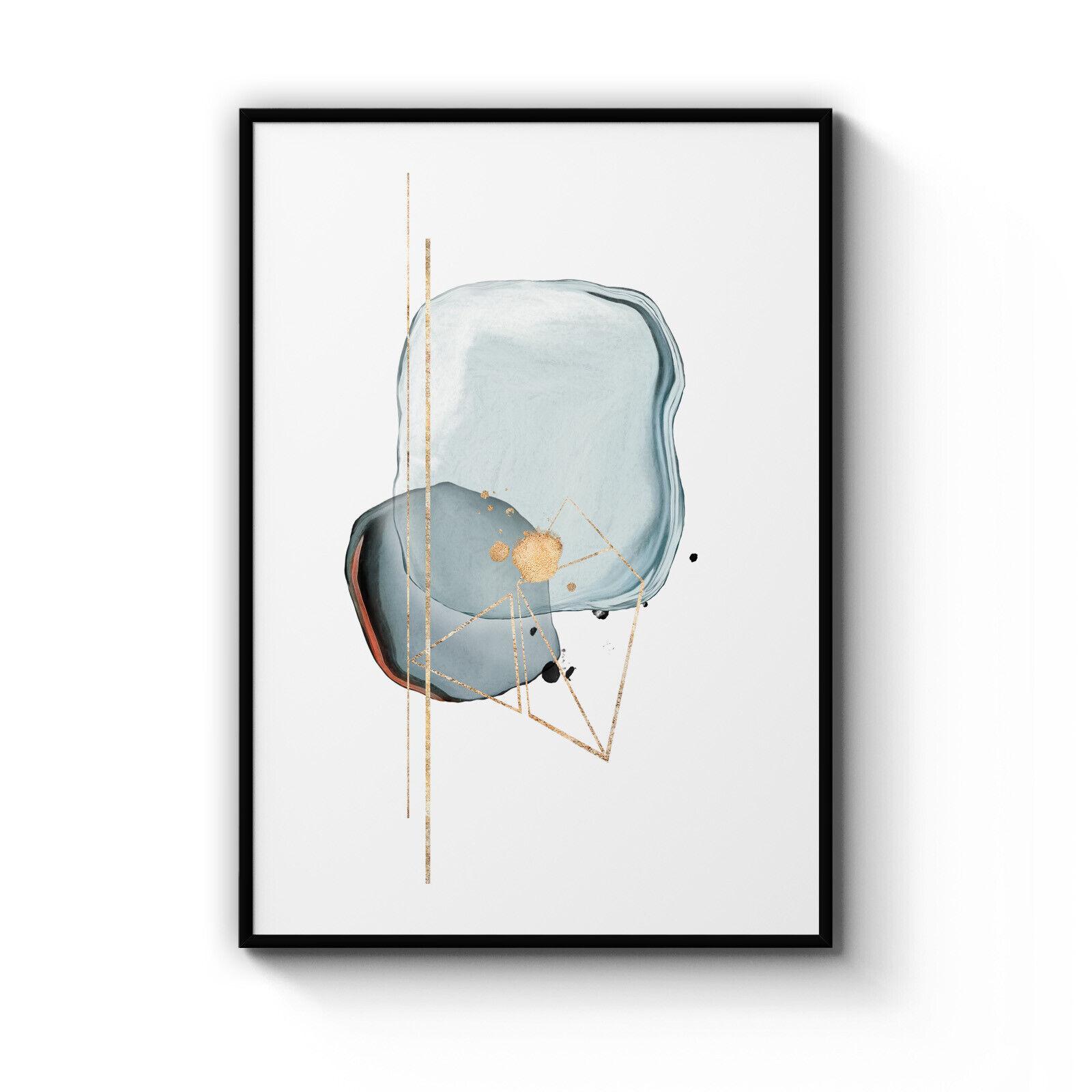 Abstract Art Blau Teal Minimal Shape Home Decor Poster Print  A4 - B1 Framed