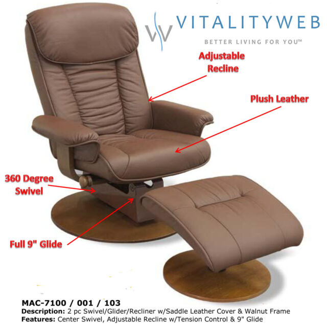 MAC Motion 7100 Swivel Glider Recliner Chair With Ottoman Saddle Leather  Walnut