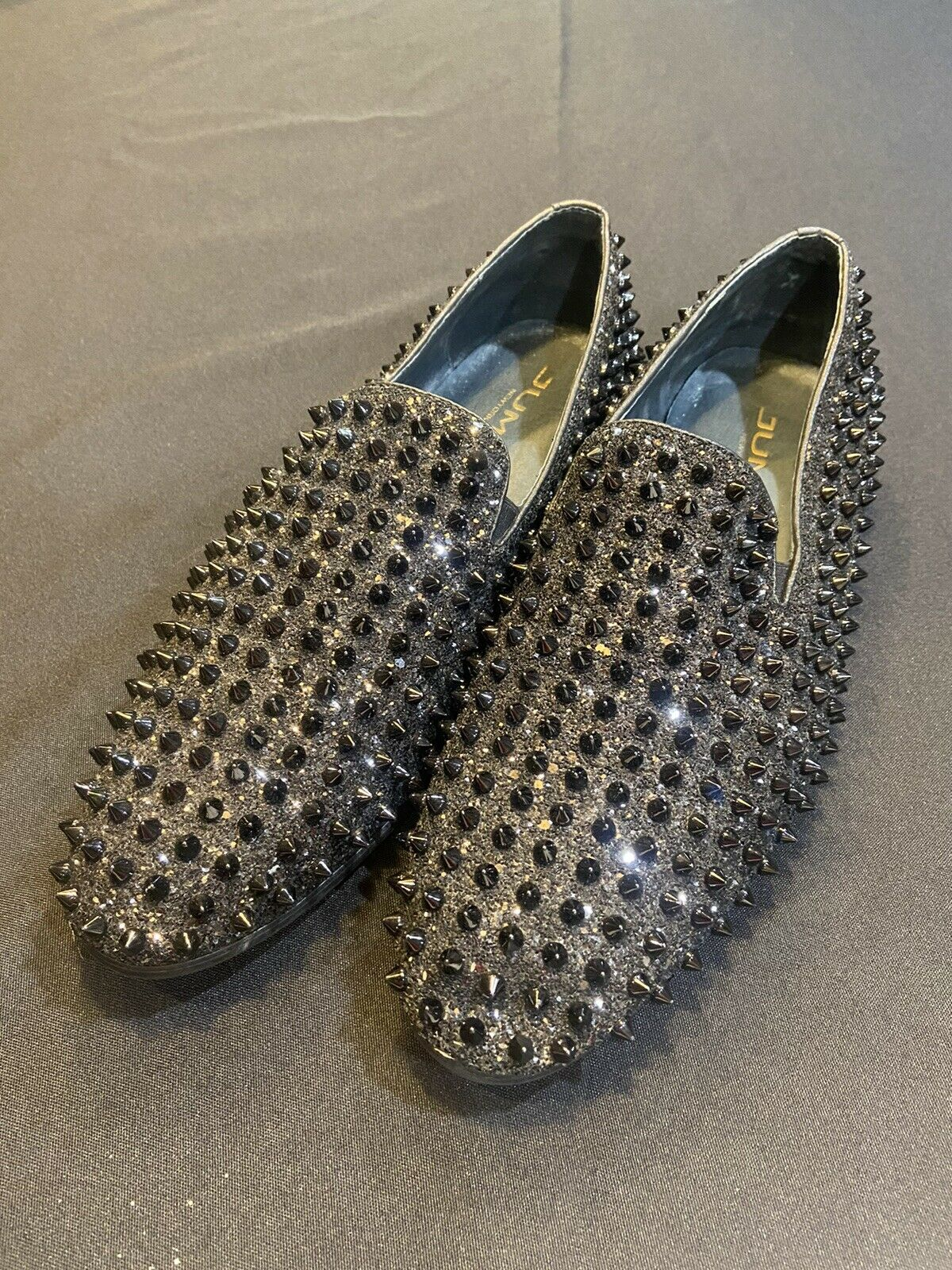 Jump NewYork Shoe/Dress Loafer-Men Sz.12-Black/Spikes/Glitter