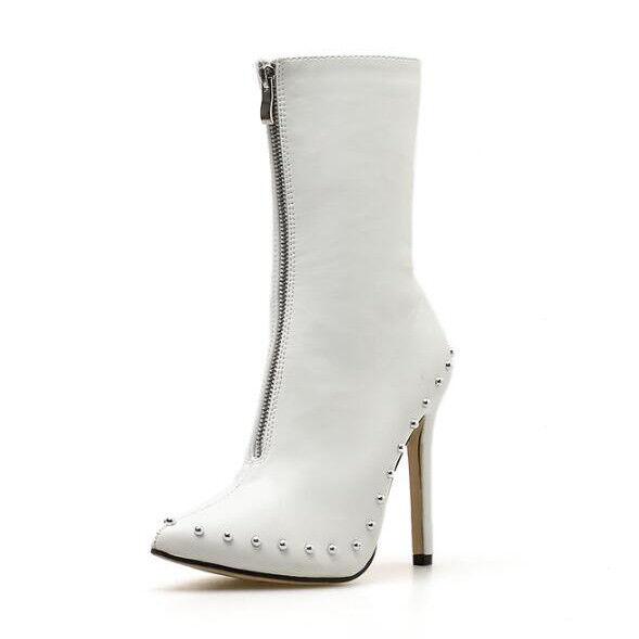 bottes stivaletti stiletto bianco perle comodi eleganti 11 pelle sintetica 1402