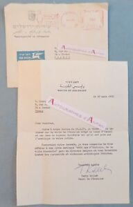 Teddy-KOLLEK-1970-Maire-Jerusalem-ISRAEL-autograph-Royaume-Hachemite-letter