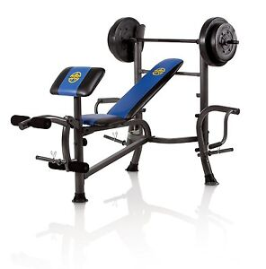 Marcy Standard Bench With 80 Lb Weight Set With Butterfly Home Gym Mwb36780b Ebay