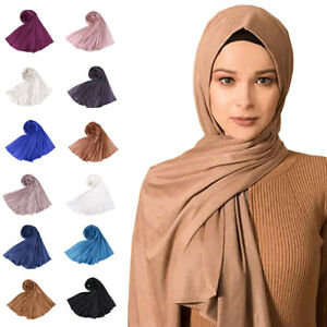 Muslim-Women-Maxi-Scarf-Plain-Scarves-Hijab-Islamic-Shawl-Stole-Wrap-Headscarf