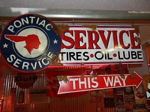 Antique-style-vintage-look-GM-Pontiac-dealer-service-station-gas-pump-sign-set