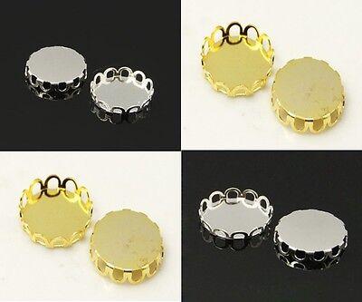10 Silver/Golden Colour Flat Round Cabochon Settings 10mm, 12mm. (CAB2C34D1)