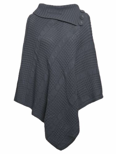 NEW LADIES  WOMENS PULLOVER THREE BUTTON  PONCHO CAPE SHAWL CARDIGAN ONE SIZE