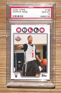 2008 Topps Basketball Derrick Rose ROOKIE #196 PSA 10 GEM MINT!!! BULLS! RARE!!!