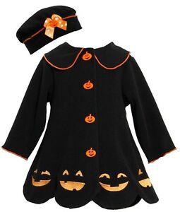 Bonnie jean baby girl halloween jack o lantern fleece fall coat hat 0