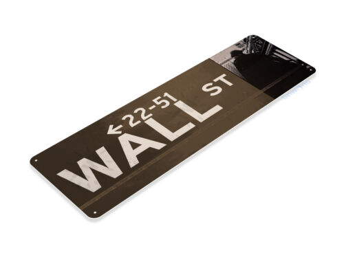 Tin Sign Wall Street Sign New York boutique Argent indice boursier marché Bull A832