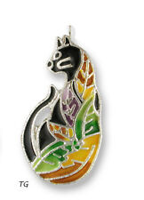 Zarah Zarlite Time to Leave Cat CHARM Silver Plated & Enamel Kitty w/ Jump Ring