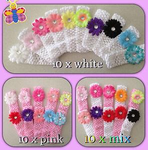10 pcs bulk Cute Baby Girls  Flower Hairbow  Crochet Headbands Hair set