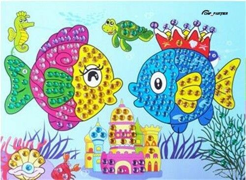 diy 5d diamond embroidery painting kit cartoon mosaic cross kids birthday gift cartoon fish ebay - Cartoon Painting For Kids