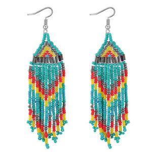 1pair-Handmade-Women-039-s-Glass-Seed-Bead-Tassel-Silver-P-Hook-Earrings-Dangle-Hoop