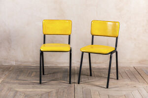 Image Is Loading Retro Style Yellow Dining Chair Buffalo Leather Stacking