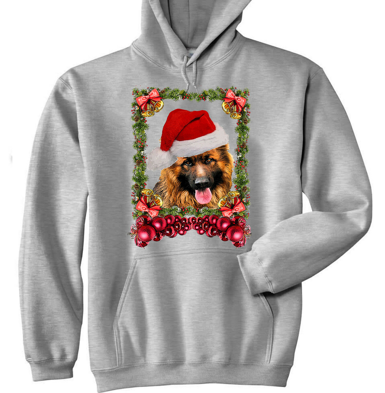 GERMAN SHEPHERD CHRISTMAS - NEW COTTON GREY HOODIE