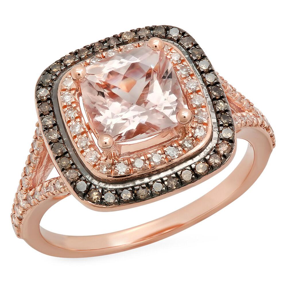 2.20 CT 14K pink gold Morganite And Champagne & White Diamond Ladies Bridal Ring