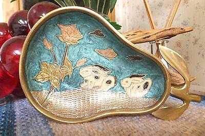 Enameled Brass Pear Dish, Rabbits