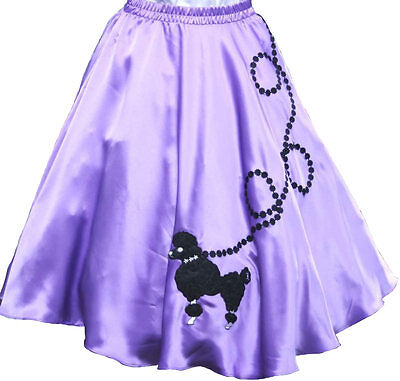 "Pink SATIN 50s Poodle Skirt /_ Adult Size MEDIUM /_ Waist 30/"" 37/"" /_ Length 25/"""