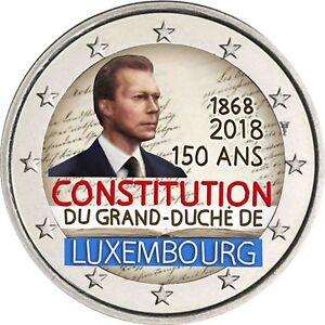 Luxemburg-2-Euro-2018-150-Jahre-Verfassung-Gedenkmuenze-bankfrisch-in-Farbe