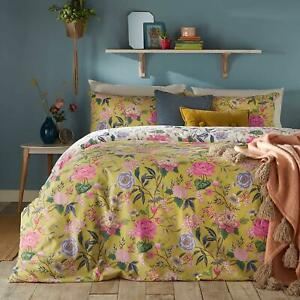 BRIGHT FLORAL BLOOMS FLOWERS YELLOW COTTON BLEND SUPER KING DUVET COVER
