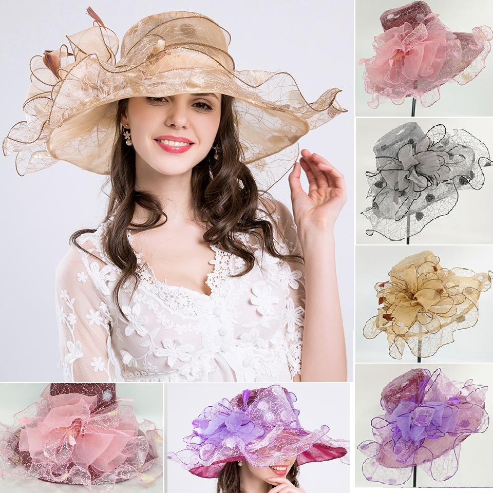 Elegante Sombrero Mujer Organza Sombrero Nupcial para Eventos Boda Colores H4