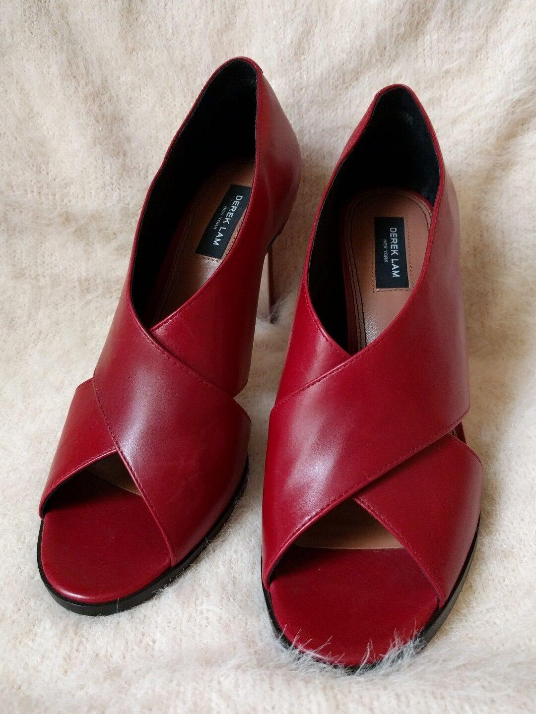 DEREK LAM Trey Heel Lipstick Red leather stiletto Sz 9 B  575