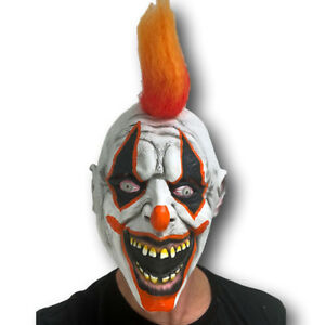 6d58c1737 Scary Clown Mask Halloween Latex with Orange Hair Horror Fancy Dress ...
