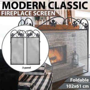 vidaXL 3-panel Fireplace Screen Iron Black Fireguard Grill BBQ Health Gate