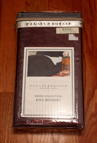 """Palais Royale KING Brown Bed Skirt 15/"""" 18/"""" Hotel Collection Dust Ruffle split"""