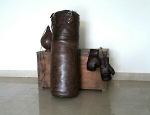 Vintage-Dark-Brown-Leather-Boxing-Gym-Punch-Bag-Gloves-Punch-Ball-amp-Fitting
