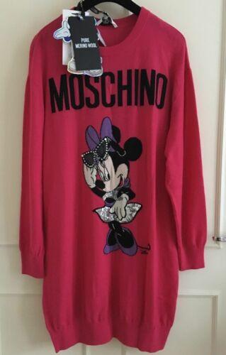 Disney mérinos rose Robe Minnie Bnwt m laine maille Moschino tricotée H en en qwavYw