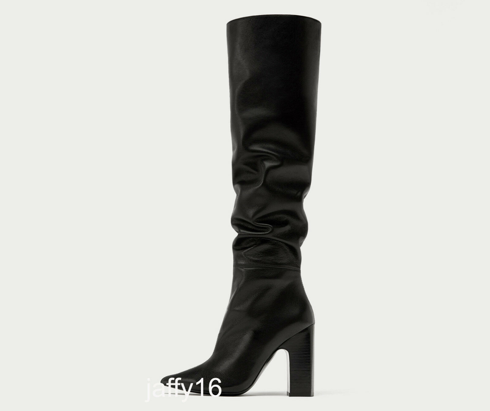 ZARA ZARA ZARA NEW LEATHER HIGH HEEL BOOTS WITH WIDE SLOUCHY LEG KNEE BLACK 36-41 5017 201 aaf626