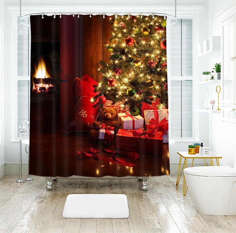 3D Weihnachten Xmas 0 Duschvorhang Wasserdicht Faser Bad Daheim Windows DE | Sonderaktionen zum Jahresende
