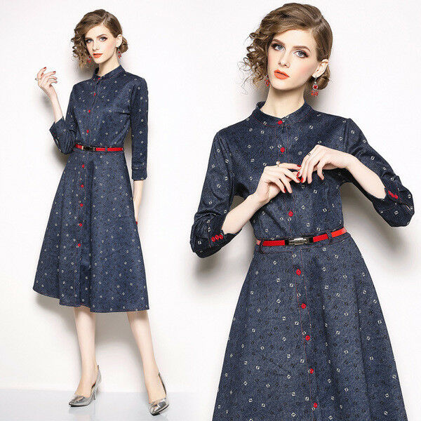 Dress short suit suit suit swing woman élégant bluee red mode sleeve 4793 33eebd