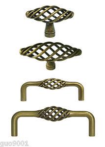 Antique Brass Birdcage Bird Cage Kitchen Cabinet Drawer Knobs Pulls  60 76 96mm