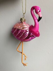 best loved 9a37a 7c96d Details about Pink Flamingo Novelty Glass Christmas Tree Decoration