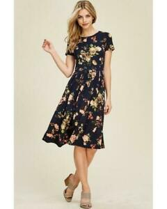 Womens Navy Zebra and Floral Print Wrap Frill Hem Short Sleeves Midi Dress