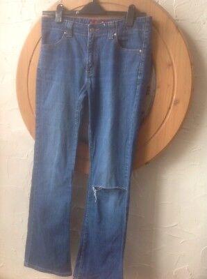 """(uk10) ???? Levi Nouveau Low Boot's Taglia 525"""" Jeans Stretch-blu Indaco-effetto Invecchiato-mostra Il Titolo Originale Avere Una Lunga Posizione Storica"""