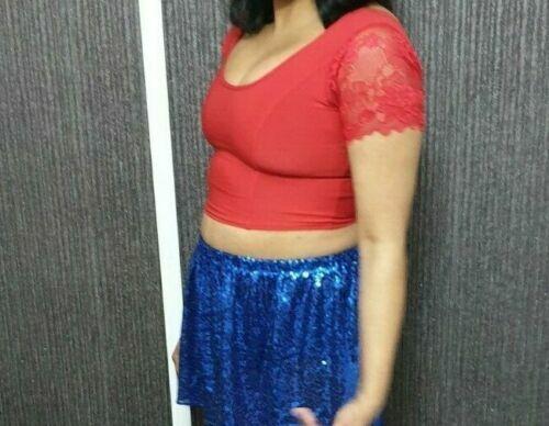 Ladies Red Crop Top Women/'s Ladies Girls Lace Short Sleeves Blouse Tank Tops