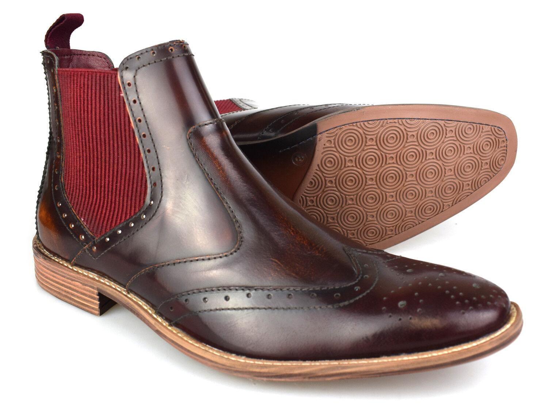 Premium Mens Oxblood  Leather Brogue Chelsea stivali  migliore offerta