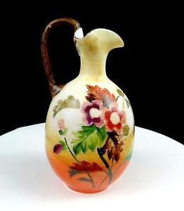 """BRISTOL GLASS HANDPAINTED FLORAL MOTIF 7 7/8"""" TRI CORNER EWER PITCHER 1880s"""