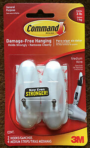 COMMAND-WHITE-MEDIUM-WIRE-2xHOOKS-4xMEDIUM-STRIPS-HOLDS-3lbs-1KG-17068ES