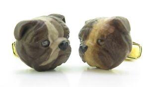 A-Fine-Pair-Of-Paul-Longmire-18k-Gold-Carved-Bulldog-Cufflinks